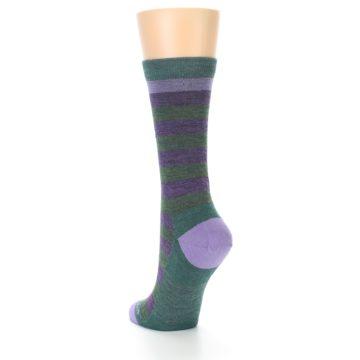 Image of Plum Green Stripe Wool Women's Socks (side-2-back-16)