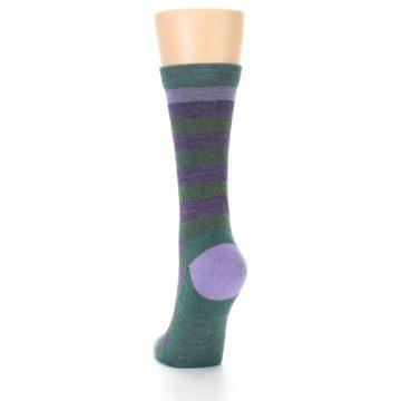 Image of Plum Green Stripe Wool Women's Socks (back-17)