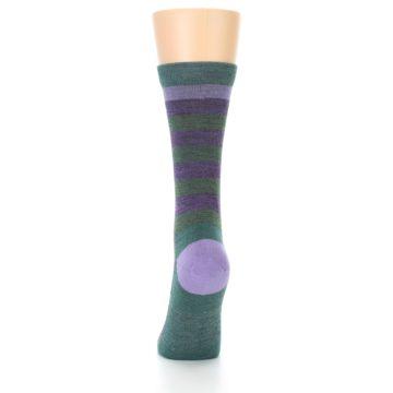 Image of Plum Green Stripe Wool Women's Socks (back-18)