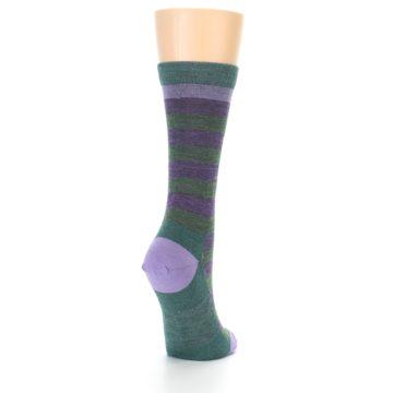 Image of Plum Green Stripe Wool Women's Socks (side-1-back-21)