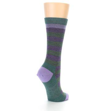 Image of Plum Green Stripe Wool Women's Socks (side-1-back-22)