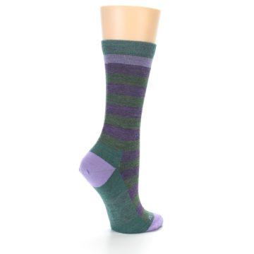 Image of Plum Green Stripe Wool Women's Socks (side-1-23)