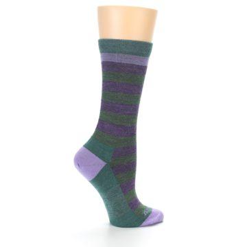 Image of Plum Green Stripe Wool Women's Socks (side-1-24)
