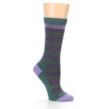 Image of Plum Green Stripe Wool Women's Socks (side-1-26)