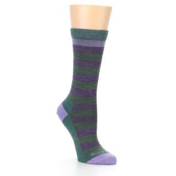 Image of Plum Green Stripe Wool Women's Socks (side-1-27)