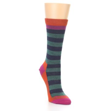 Image of Dark Purple Stripe Wool Women's Socks (side-1-front-02)