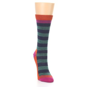 Image of Dark Purple Stripe Wool Women's Socks (side-1-front-03)