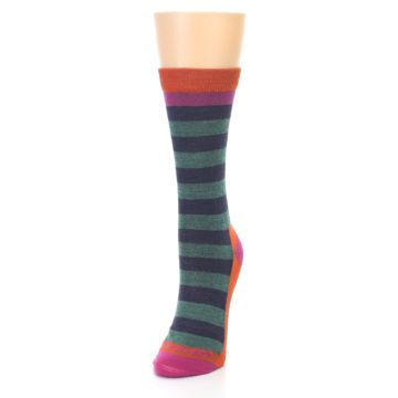 Image of Dark Purple Stripe Wool Women's Socks (side-2-front-07)