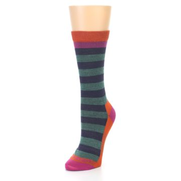 Image of Dark Purple Stripe Wool Women's Socks (side-2-front-08)