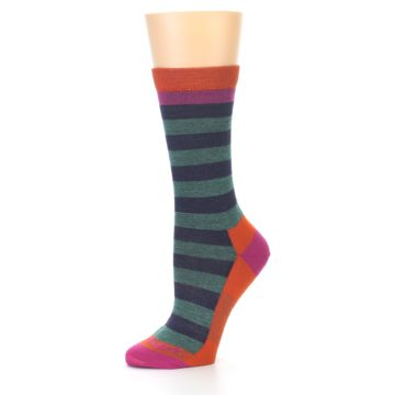 Image of Dark Purple Stripe Wool Women's Socks (side-2-10)