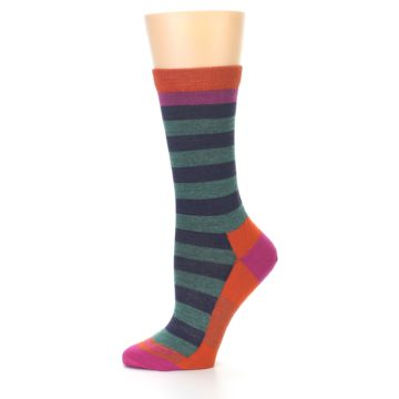 Image of Dark Purple Stripe Wool Women's Socks (side-2-11)