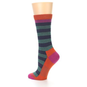 Image of Dark Purple Stripe Wool Women's Socks (side-2-back-14)