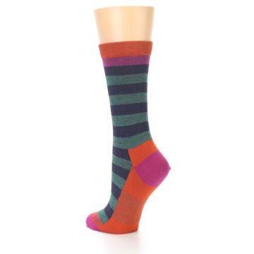 Image of Dark Purple Stripe Wool Women's Socks (side-2-back-15)