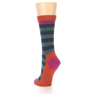 Image of Dark Purple Stripe Wool Women's Socks (side-2-back-16)