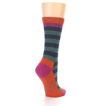 Image of Dark Purple Stripe Wool Women's Socks (side-1-back-22)