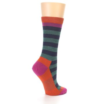 Image of Dark Purple Stripe Wool Women's Socks (side-1-23)
