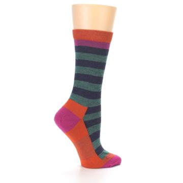 Image of Dark Purple Stripe Wool Women's Socks (side-1-24)