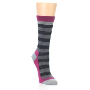 Image of Grey Stripe Wool Women's Socks (side-1-front-02)