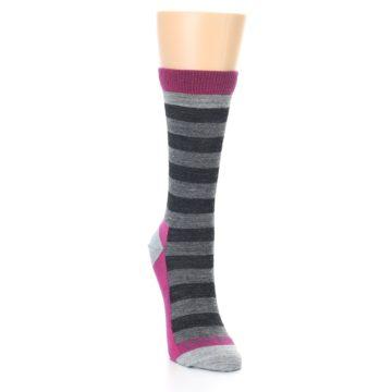 Image of Grey Stripe Wool Women's Socks (side-1-front-03)