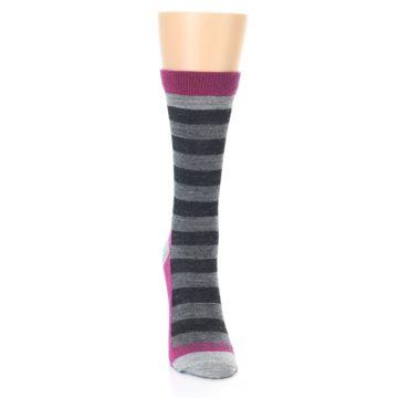 Image of Grey Stripe Wool Women's Socks (front-04)