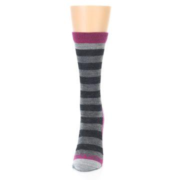 Image of Grey Stripe Wool Women's Socks (side-2-front-06)