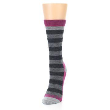 Image of Grey Stripe Wool Women's Socks (side-2-front-07)