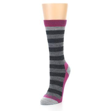 Image of Grey Stripe Wool Women's Socks (side-2-front-08)