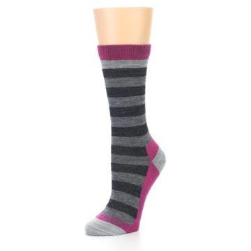Image of Grey Stripe Wool Women's Socks (side-2-09)