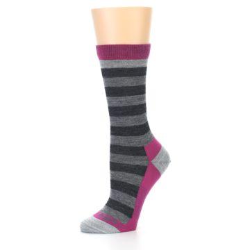 Image of Grey Stripe Wool Women's Socks (side-2-10)