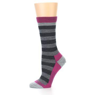 Image of Grey Stripe Wool Women's Socks (side-2-11)
