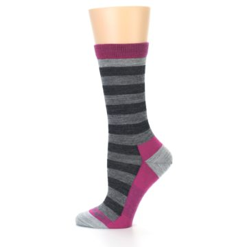 Image of Grey Stripe Wool Women's Socks (side-2-12)