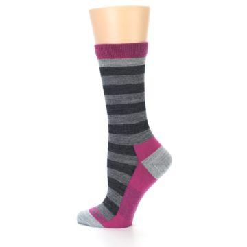 Image of Grey Stripe Wool Women's Socks (side-2-13)