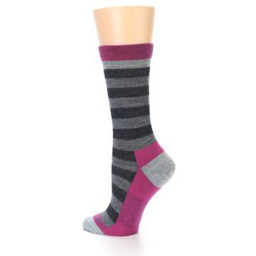 Image of Grey Stripe Wool Women's Socks (side-2-back-14)