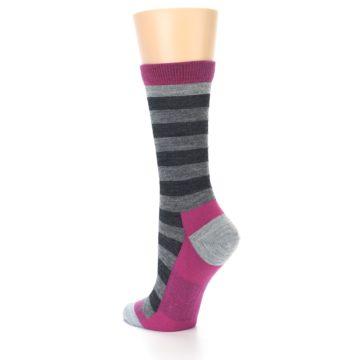 Image of Grey Stripe Wool Women's Socks (side-2-back-15)