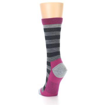 Image of Grey Stripe Wool Women's Socks (side-2-back-16)