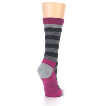 Image of Grey Stripe Wool Women's Socks (side-1-back-21)