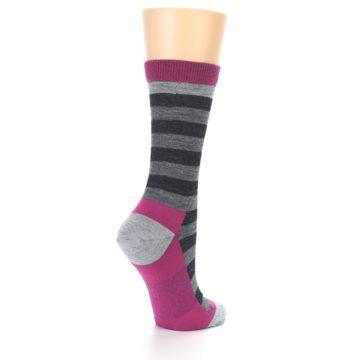 Image of Grey Stripe Wool Women's Socks (side-1-back-22)
