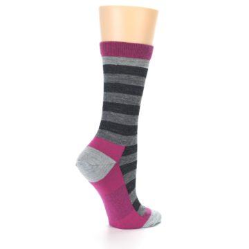 Image of Grey Stripe Wool Women's Socks (side-1-23)