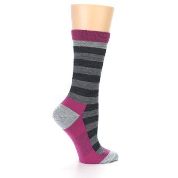 Image of Grey Stripe Wool Women's Socks (side-1-24)