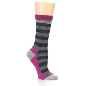 Image of Grey Stripe Wool Women's Socks (side-1-26)