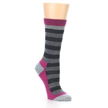 Image of Grey Stripe Wool Women's Socks (side-1-27)