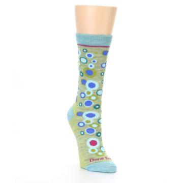 Image of Lime Blue Bubbles Wool Women's Socks (side-1-front-02)