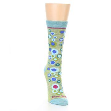 Image of Lime Blue Bubbles Wool Women's Socks (side-1-front-03)