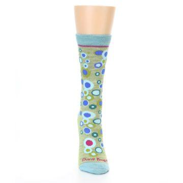 Image of Lime Blue Bubbles Wool Women's Socks (front-04)