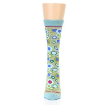 Image of Lime Blue Bubbles Wool Women's Socks (front-05)