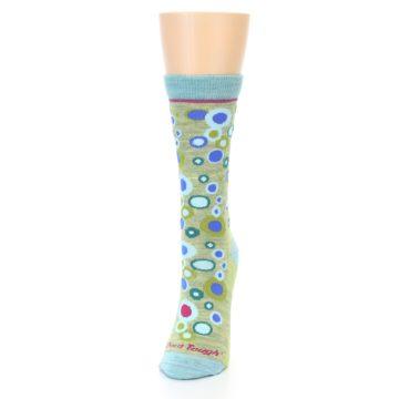 Image of Lime Blue Bubbles Wool Women's Socks (side-2-front-06)