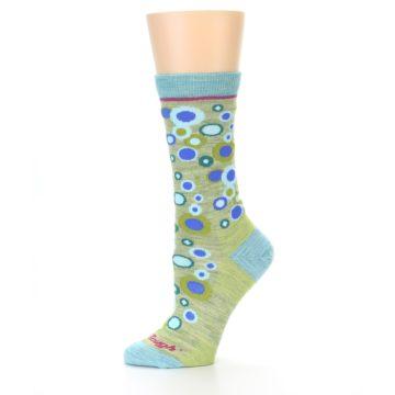 Image of Lime Blue Bubbles Wool Women's Socks (side-2-10)