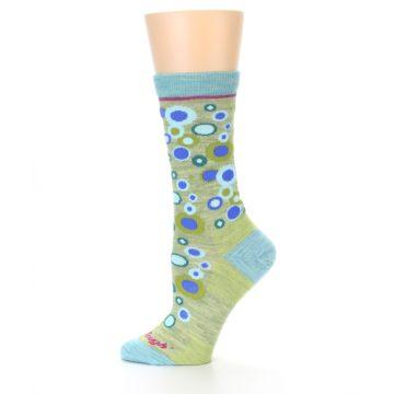 Image of Lime Blue Bubbles Wool Women's Socks (side-2-11)