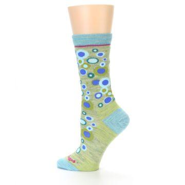 Image of Lime Blue Bubbles Wool Women's Socks (side-2-12)