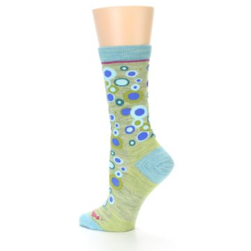 Image of Lime Blue Bubbles Wool Women's Socks (side-2-13)
